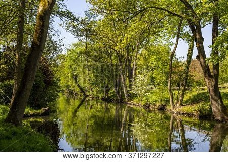 Beautiful Green Landscape On The Eure River In Central France..