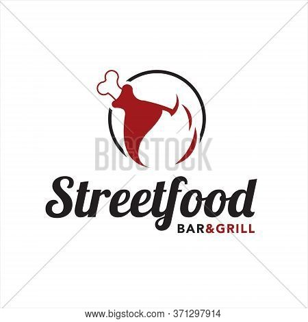 Grill Logo Simple Roasted Meat And Bar Design Template, Label Vector Or Food Icon Graphic Inspiratio