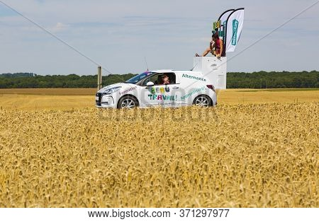 Vendeuvre-sur-barse, France - 6 July, 2017: The Car Of Beau Travail Passes Through A Region Of Wheat