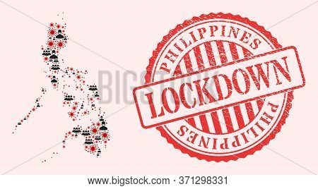 Vector Collage Philippines Map Of Corona Virus, Masked People And Red Grunge Lockdown Stamp. Virus C