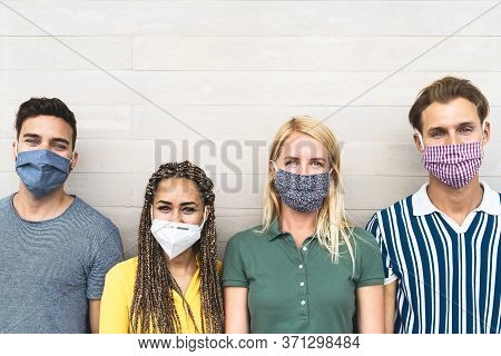 Multiracial Friends Wearing Face Mask For Preventing And Stop Corona Virus Spread - Youth Millennial