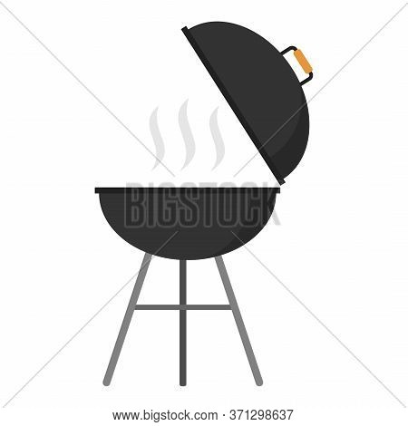 Bbq Grill Round Shape Isolated On White Background. Picnic Camping Cooking, Barbecue Vector Icon In