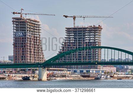 Belgrade / Serbia - April 15, 2017: Construction Of Belgrade Waterfront (beograd Na Vodi) Modern Res