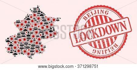 Vector Collage Beijing City Map Of Flu Virus, Masked Men And Red Grunge Lockdown Seal. Virus Cells A