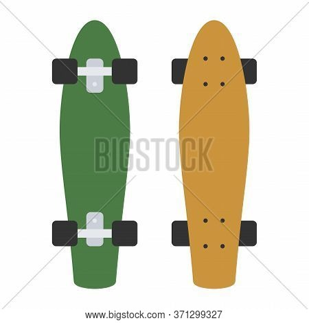 Longboard Skateboard Isolated On White Background. Vector Skateboarding Deck In Flat