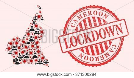 Vector Mosaic Cameroon Map Of Sars Virus, Masked People And Red Grunge Lockdown Stamp. Virus Items A