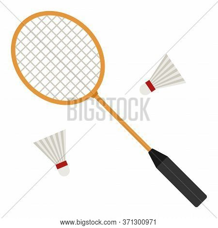 Badminton Racket And White Shuttlecocks On White Background. Equipments For Badminton Game Sport. Ve