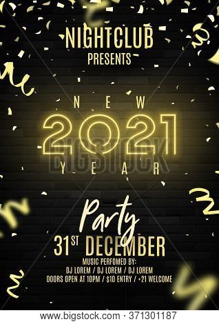 2021 Happy New Year Party Flyer. Realistic Bright Neon Number On Brick Wall. Concept Of Holiday Bann