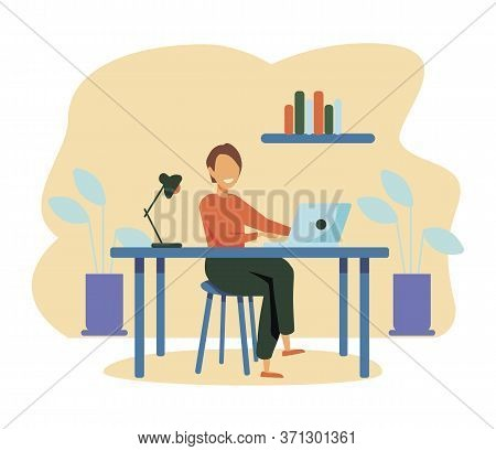 Woman Working At Her Desk At Home. She Has A Lot Of Work. Woman Working With Laptop At Her Work Desk