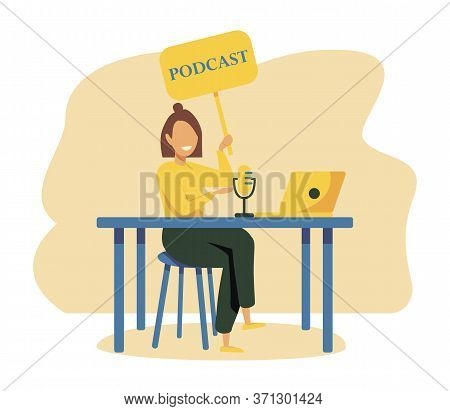 Radio Host With Table Flat Vector Illustration. Media Hosting Doodle Drawing. Female Podcaster Holdi