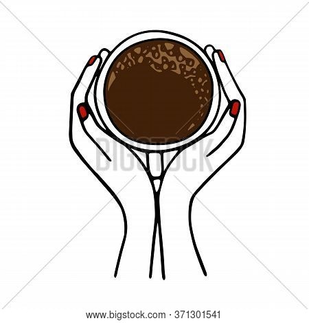 Hands Holding A Cup Of Coffee Or Cocoa Hand-drawn. Vector Illustration In Doodle Style Black Outline
