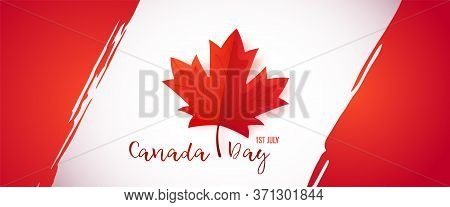 First Of July, Canada Day. Long Greeting Banner With Red Maple Leaf For Canada Day Celebration. Cana