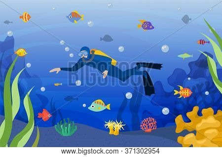 Diver Underwater, Vector Illustration. Scuba Man In Ocean Activity Sport With Tropical Fish, Dive Wi