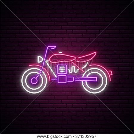 Neon Motorcycle Sign. Bright Neon Motorcycle Emblem On Dark Brick Background. Vector Illustration.