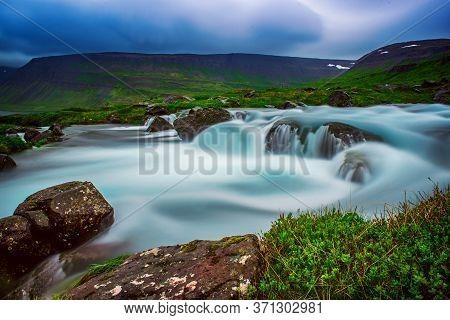 Part Of Dynjandi, Fjallfoss, Waterfall, Iceland. Long Exposure Icelandic Summer Landscape