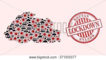Vector Mosaic Bhutan Map Of Flu Virus, Masked People And Red Grunge Lockdown Seal. Virus Cells And P