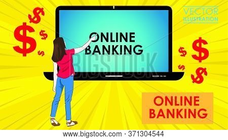 Internet Banking. Online Banking Concept. User Connecting With Bank Account Through Laptop
