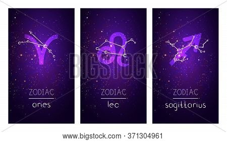 Set Of Three Cards With Signs Of The Zodiac, Astrological Constellations And Hand Drawn Lettering Ag