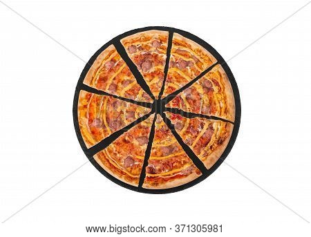 Sliced Pizza With Beef Sausages, Mozzarella, Various Sauces And Marinated Red Onions On A Slate Roun