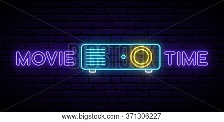 Neon Cinema Projector Sign. Bright Glowing Projector Icon And Text Movie Time. Vector Illustration.
