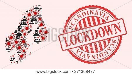 Vector Mosaic Scandinavia Map Of Flu Virus, Masked People And Red Grunge Lockdown Seal. Virus Cells