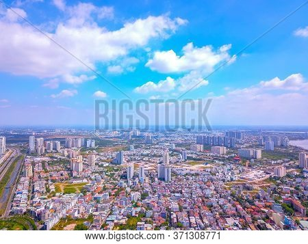 Ariel View Of District 2 And Binh Thanh District In Ho Chi Minh City, Vietnam