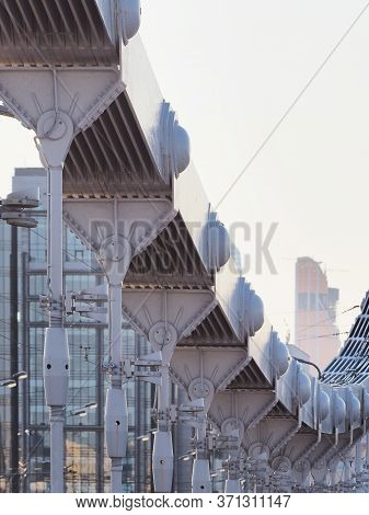 Moscow, Russia, Crimean Or Krymsky Bridge. The Krymsky Bridge Is A Steel Suspension Bridge Spanning