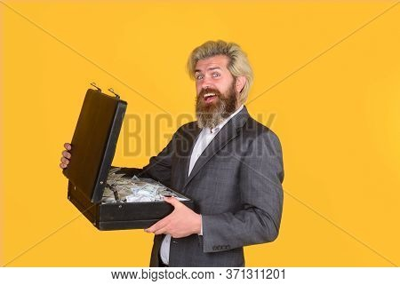 Happy Businessman Holds Briefcase With Money. Bearded Man With Case Of Money. Money For Business. Do