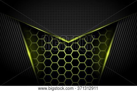 Modern Tech Abstract Yellow Background With Shinny Lines Effect. Background Template Designs.