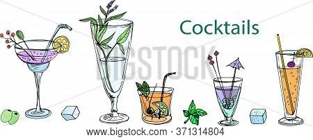 A Set Of Drawings With Cocktails Colored By Hand Isolated On A White Background Summer Thirst Travel