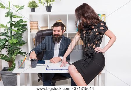 Boss Meeting. Bearded Man And Sexy Girl Hold Working Meeting. Business Meeting. Business Couple Wear