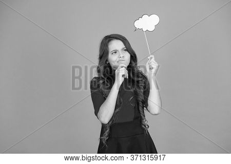 Brainstorming. Communication Thinking And Making Decision. Read Her Thoughts. Kid Show Sign Bubble.