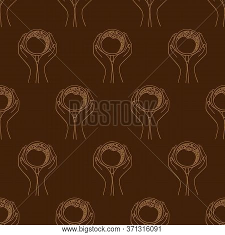 Hands Holding A Cup Of Coffee Or Cocoa Hand-drawn. Vector Seamless Doodle Pattern On Brown Backgroun