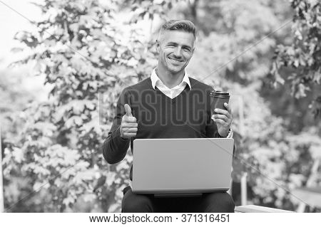 Start Blog On Best Blogging Platform. Happy Blogger Show Thumbs Up Outdoor. Man Write Blog From Lapt