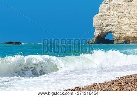 Picturesque Landscape Of Etretat, Surf. Natural Cliff Wonder, Waves And Beach. Coast Of The Pays De