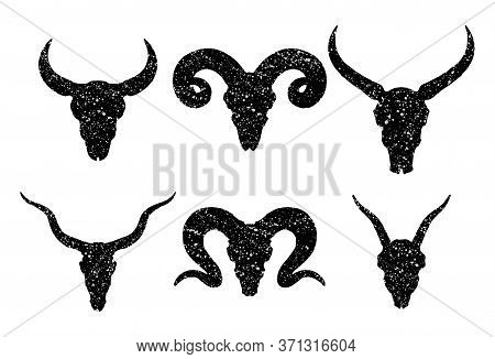 Vector Set Of Six Hand Drawn Skulls Of Horned Animals: Wild Buffalo, Bull, Antelope, Rams And Doat O