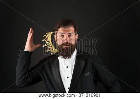 Higher Standard. Bearded Man In Golden Crown. Elegant Man In Formal Wear At Special Event. Party Kin