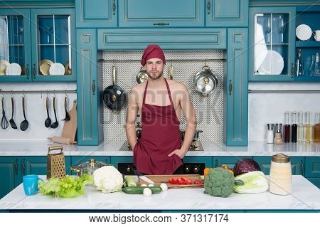 Easy Recipes. Vegetarian Taste Better. Cooking Flavors Of Nature. Bearded Man Enjoy Cooking Natural