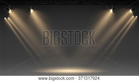 Illuminated Stage With Scenic Lights And Smoke. Blue Vector Spotlight With Smoke Volume Light Effect