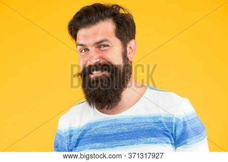 Hair Care Concept. Male Summer Fashion. Mature Hipster Has Perfect Moustache. Happy Looking Guy. Mal