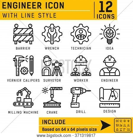 Vector Engineer Outline Icon Set For All Projects On Isolated White Background. Engineer Icon Set Co