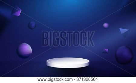 3d Abstract Composition, White Podium Display With Modern Geometric Shapes. Dark Blue Background