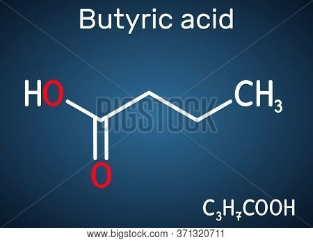 Butyric Acid, Butanoic Acid Molecule. Butyrates Or Butanoates Are Salts And Esters . Structural Chem