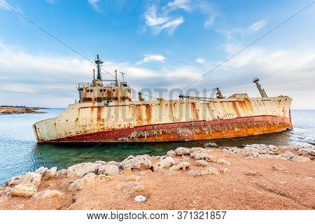 Abandoned Rusty Ship Stranded Ashore Nearby Peyia Village, Paphos, Cyprus