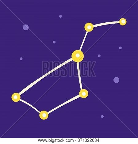 Constellation, Asterism. Group Of Different Stars. Space Vector Flat Illustration, Element, Sticker,