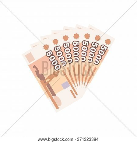 Fan Of 5000 Rubles Banknotes. Money Currency, Finance Pay Salary Vector Illustration.