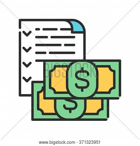 Budget Color Line Icon. Report And Financial Statements. Bookkeeping And Accounting. Pictogram For W