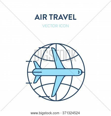 International Flight Icon. Vector Flat Outline Illustration Of An Airliner Plane With Earth Globe Ic