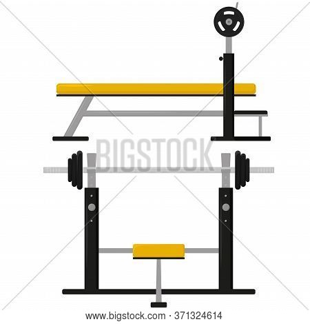 Flat Barbell Bench Press. Front View And Side View. Exercise For The Pectoral Muscles With Gym Equip