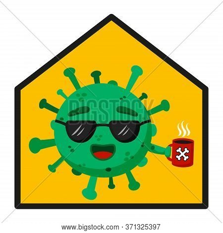 Green Coronavirus. Stop Panic. Covid-19. Funny Cartoon Character With Emotion. Glad, Smile. Coffee,